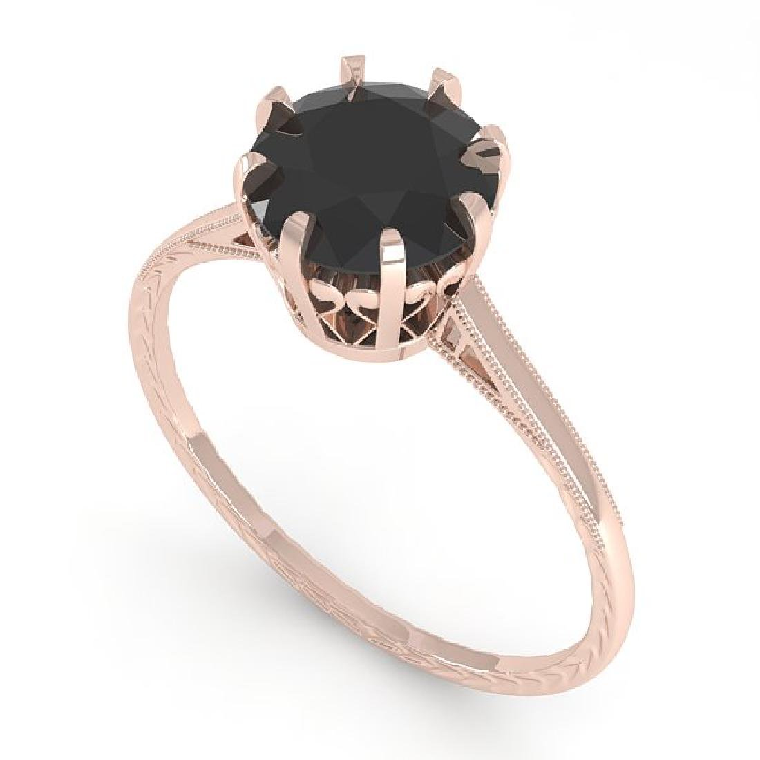 1.50 CTW Black Certified Diamond Solitaire 14K Rose - 2