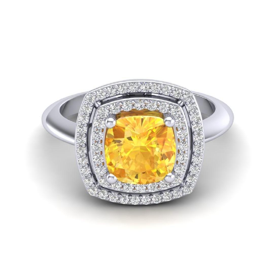 1.77 CTW Citrine & Micro VS/SI Diamond Pave Halo Ring