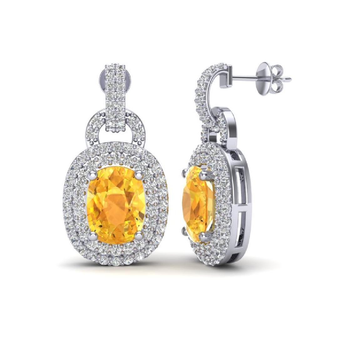 5 CTW Citrine And Micro VS/SI Diamond Pave Earrings - 2