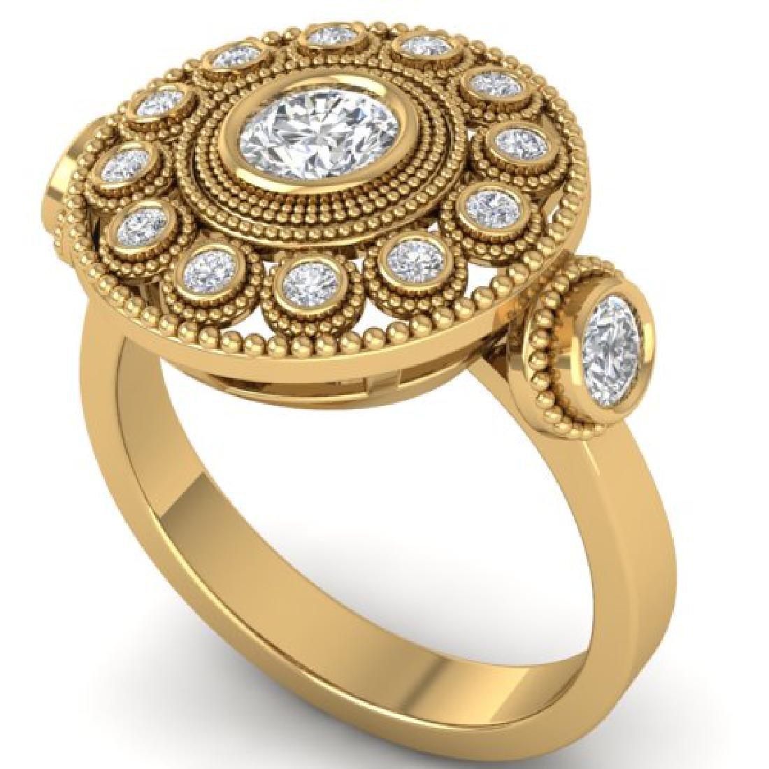 0.85 CTW Certified VS/SI Diamond Art Deco 3 Stone Ring - 2