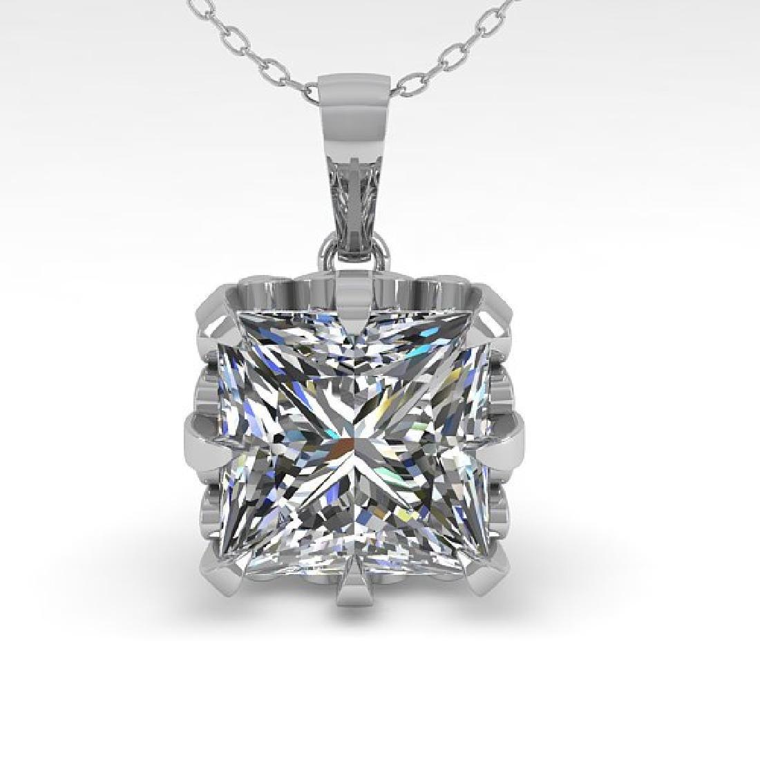 1 CTW Certified VS/SI Princess Diamond Necklace 14K - 2