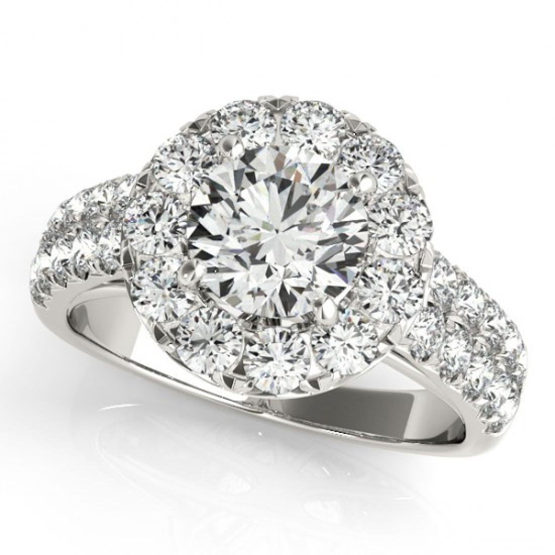 1.52 CTW Certified VS/SI Diamond Solitaire Halo Ring