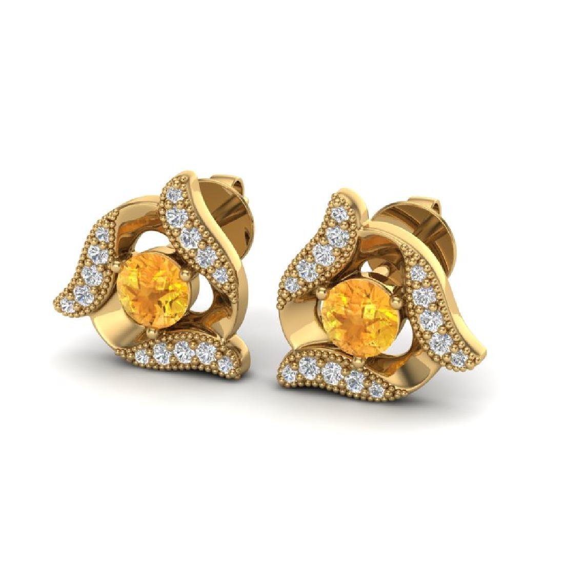 0.80 CTW Citrine & Micro Pave VS/SI Diamond Halo