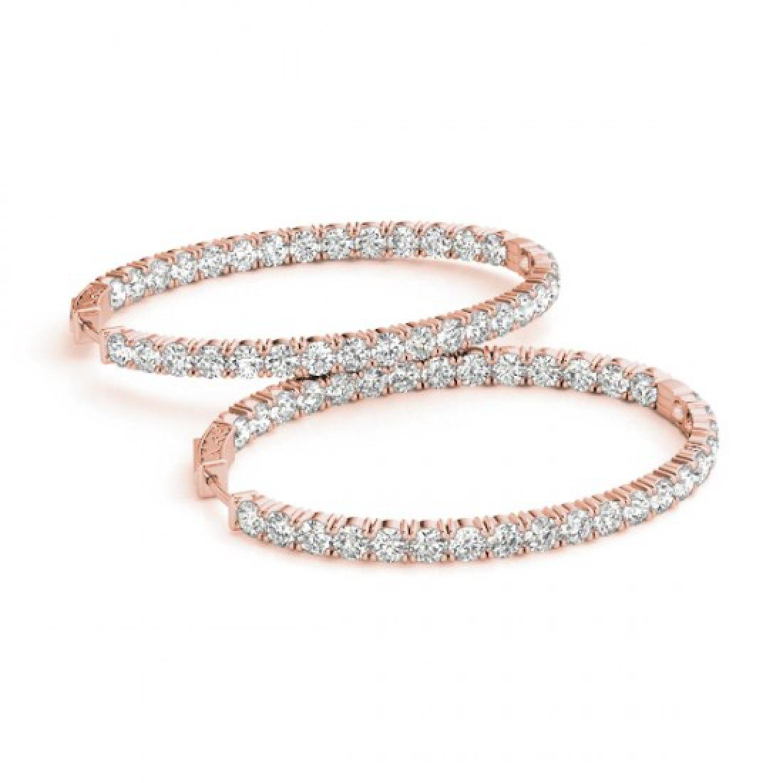 3 CTW Diamond VS/SI Certified 20 Mm Hoop Earrings 14K