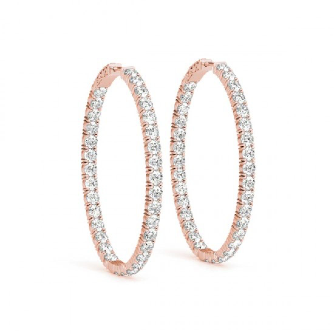 3 CTW Diamond VS/SI Certified 20 Mm Hoop Earrings 14K - 2