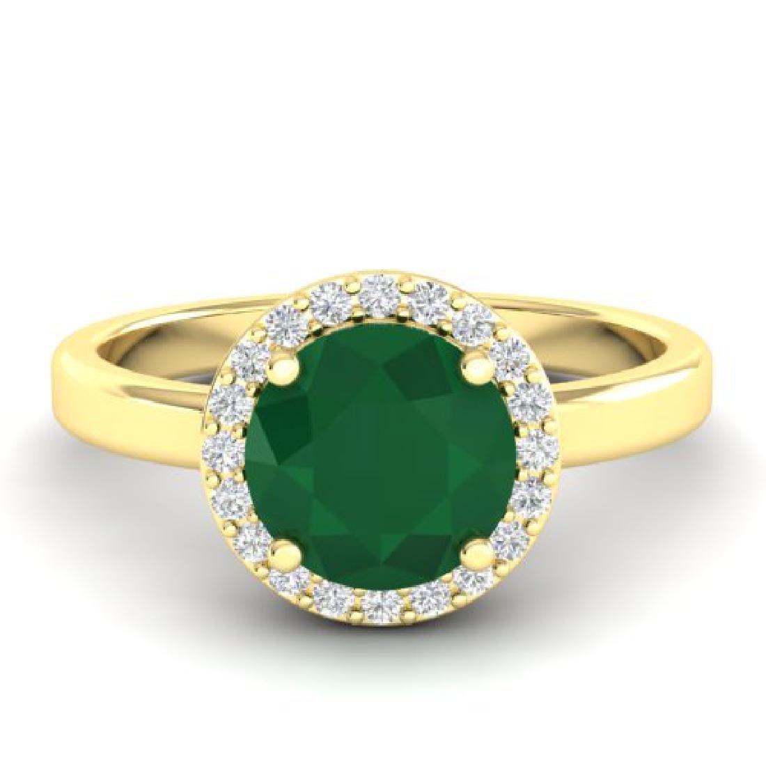 2 CTW Emerald & Halo VS/SI Diamond Micro Pave Ring 18K