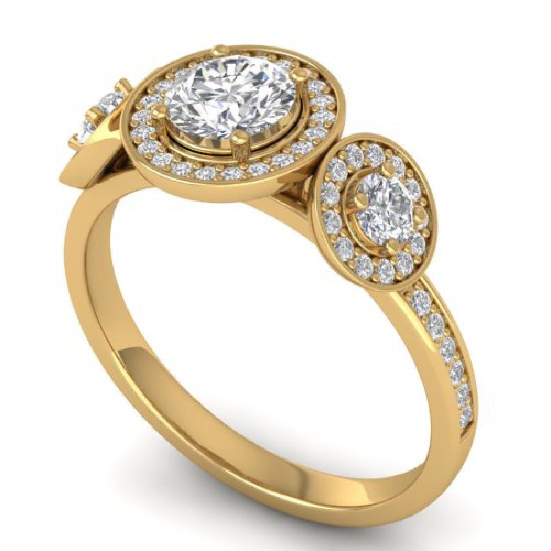 1.25 CTW Certified VS/SI Diamond Art Deco 3 Stone Micro - 2