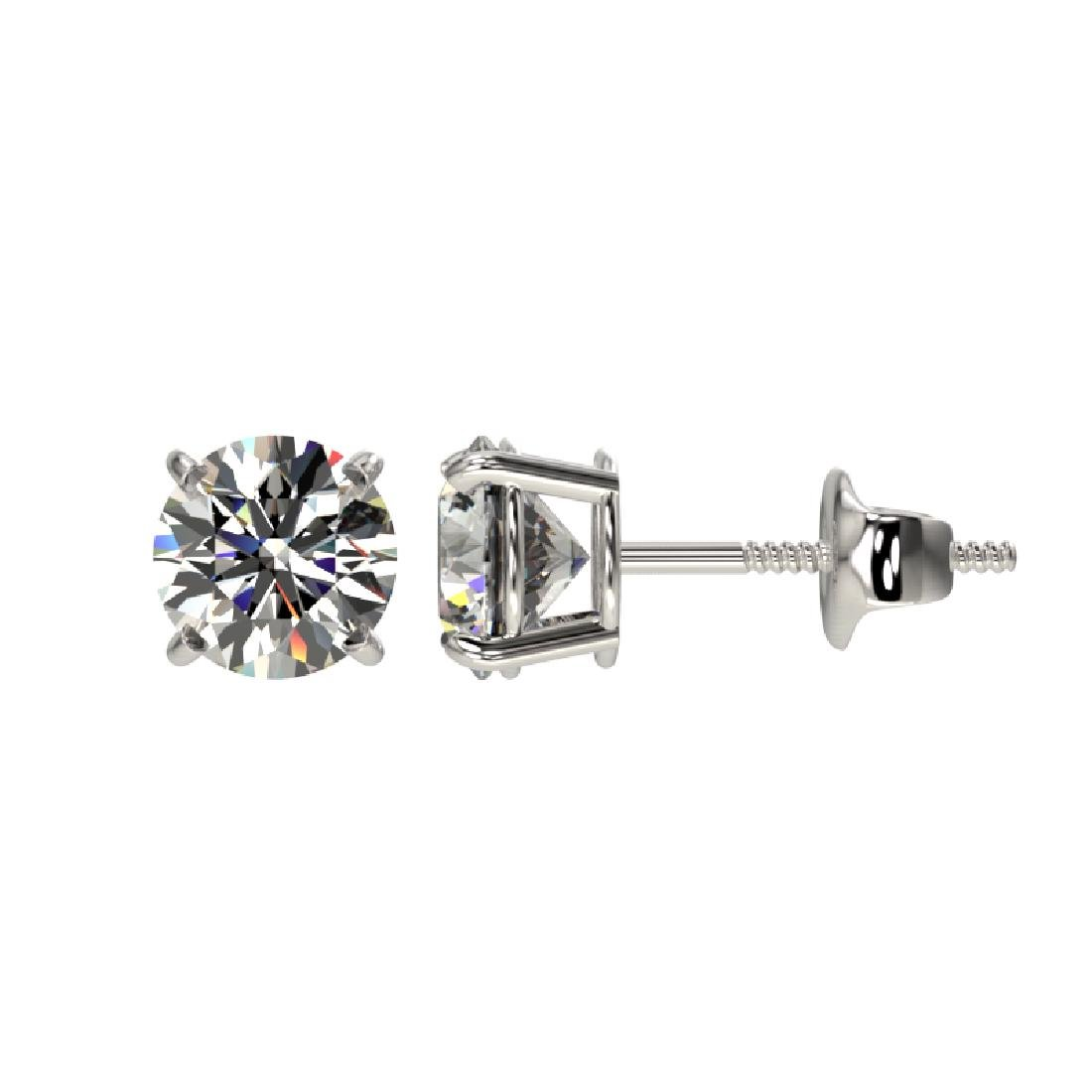 1 CTW Certified H-SI/I Quality Diamond Solitaire Stud - 2