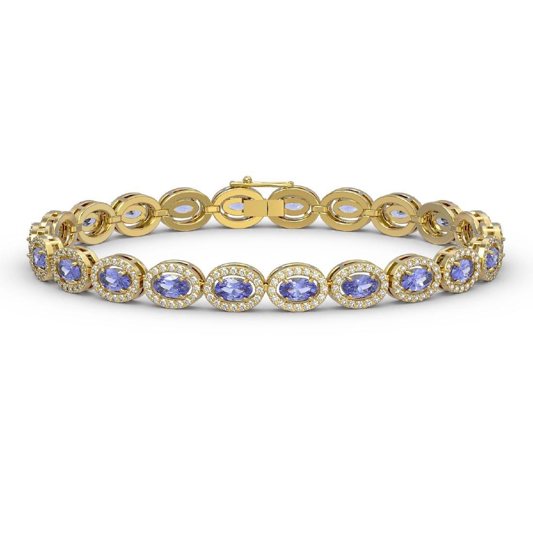 10.04 CTW Tanzanite & Diamond Halo Bracelet 10K Yellow