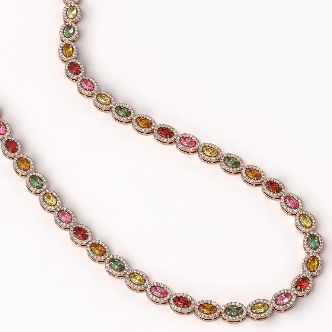 22.62 CTW Multi Color Sapphire & Diamond Halo Necklace - 2