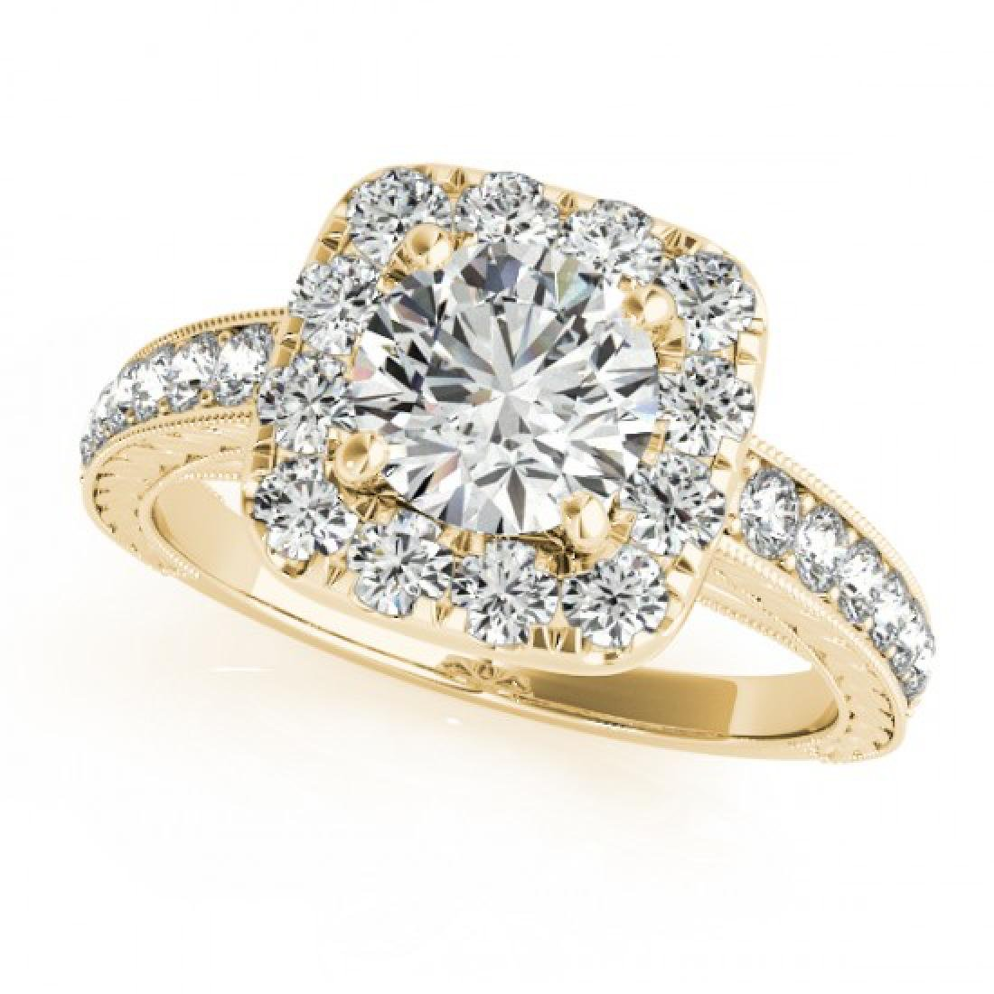 1.36 CTW Certified VS/SI Diamond Solitaire Halo Ring