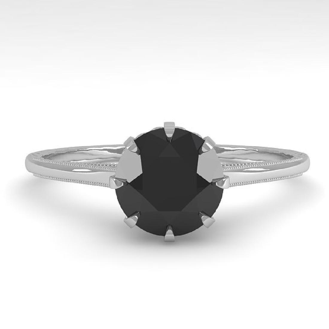 1.0 CTW Black Diamond Solitaire Ring Vintage 14K White