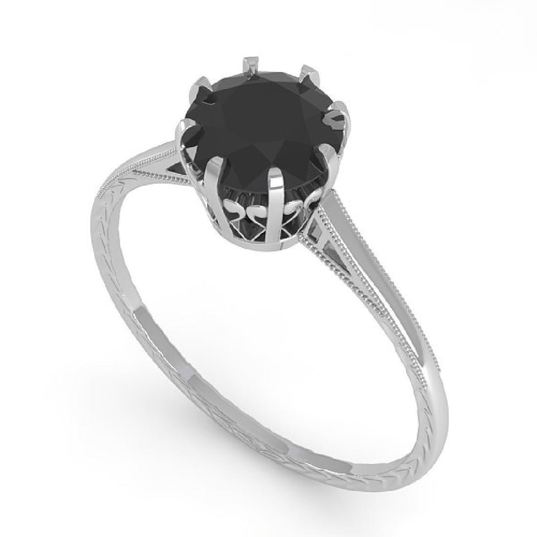 1.0 CTW Black Diamond Solitaire Ring Vintage 14K White - 2