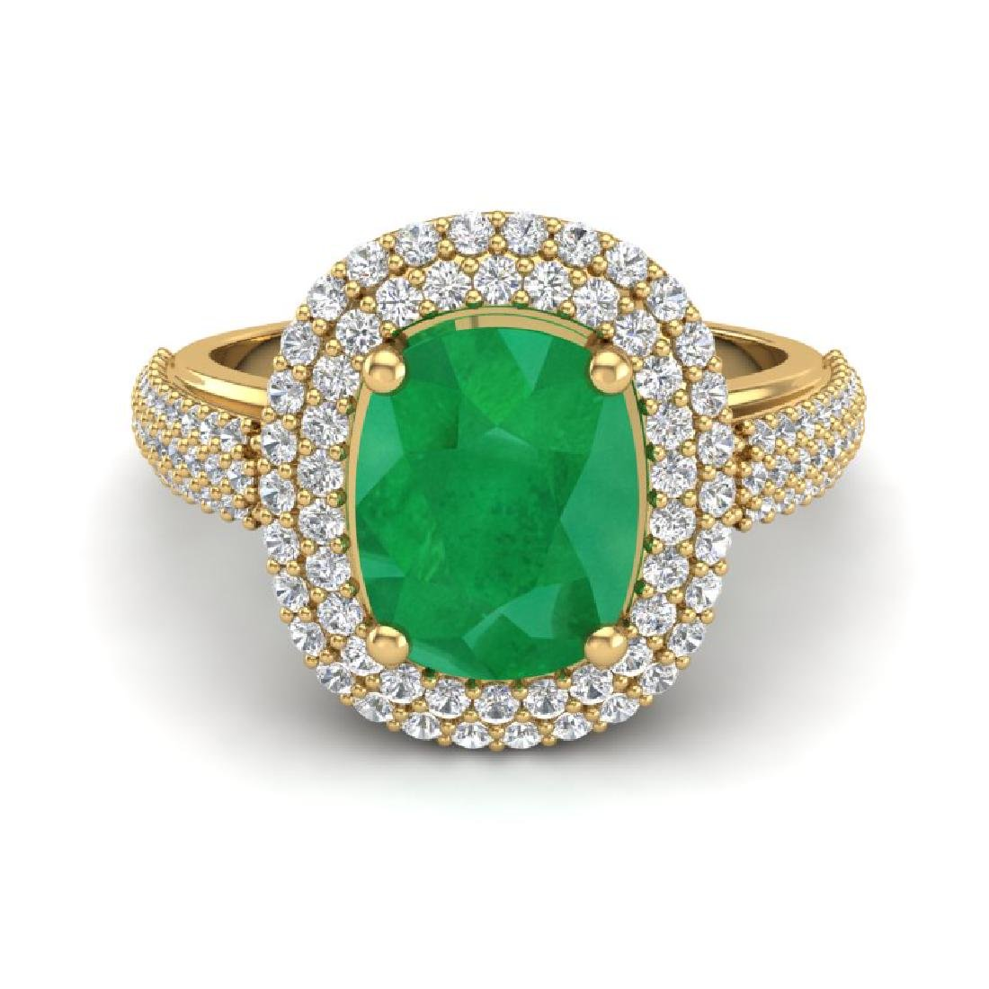 3.50 CTW Emerald & Micro Pave VS/SI Diamond Halo Ring