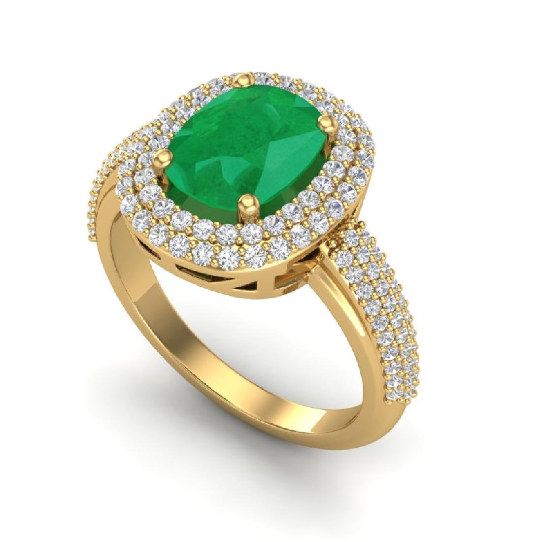 3.50 CTW Emerald & Micro Pave VS/SI Diamond Halo Ring - 2