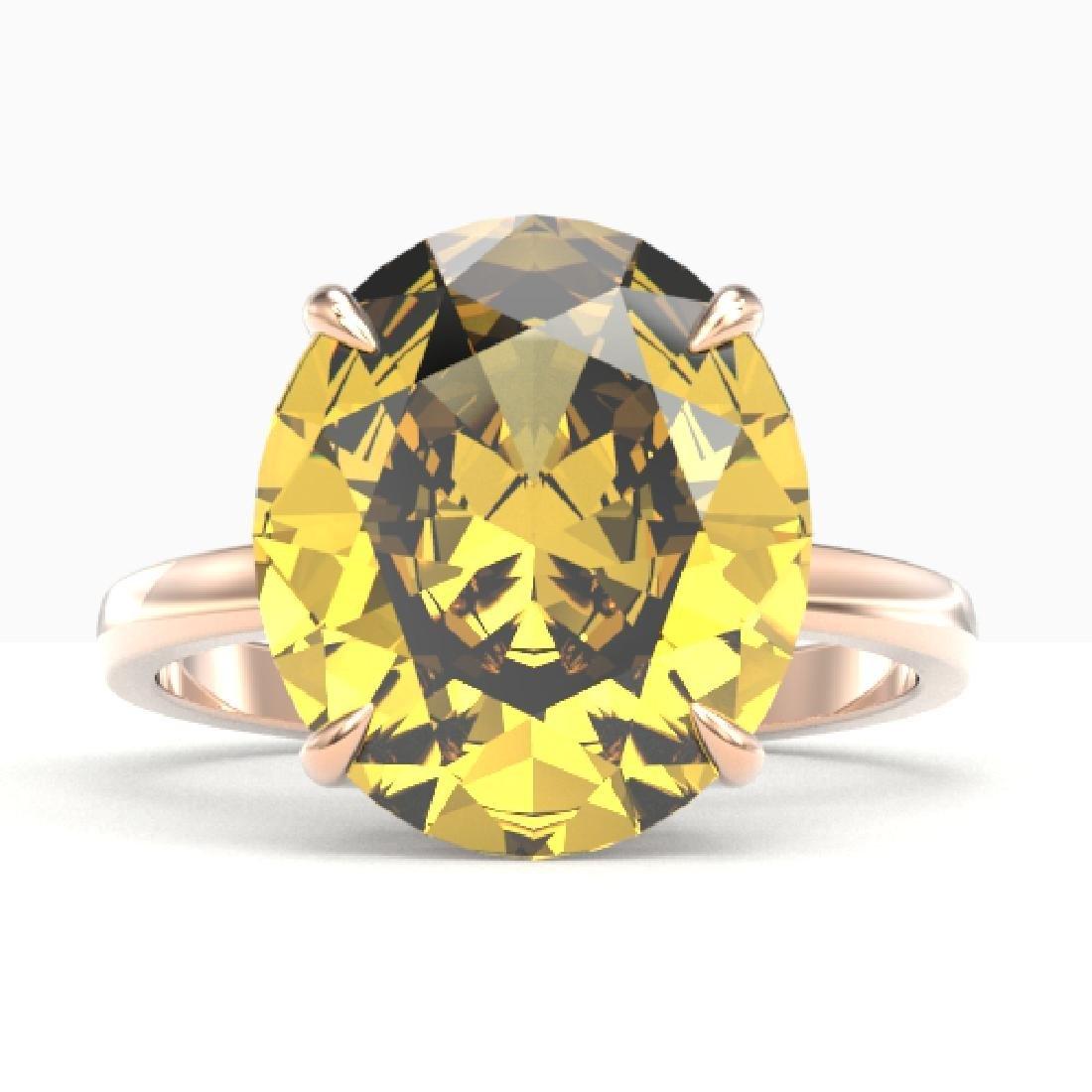 9 CTW Citrine Designer Solitaire Engagement Ring 14K