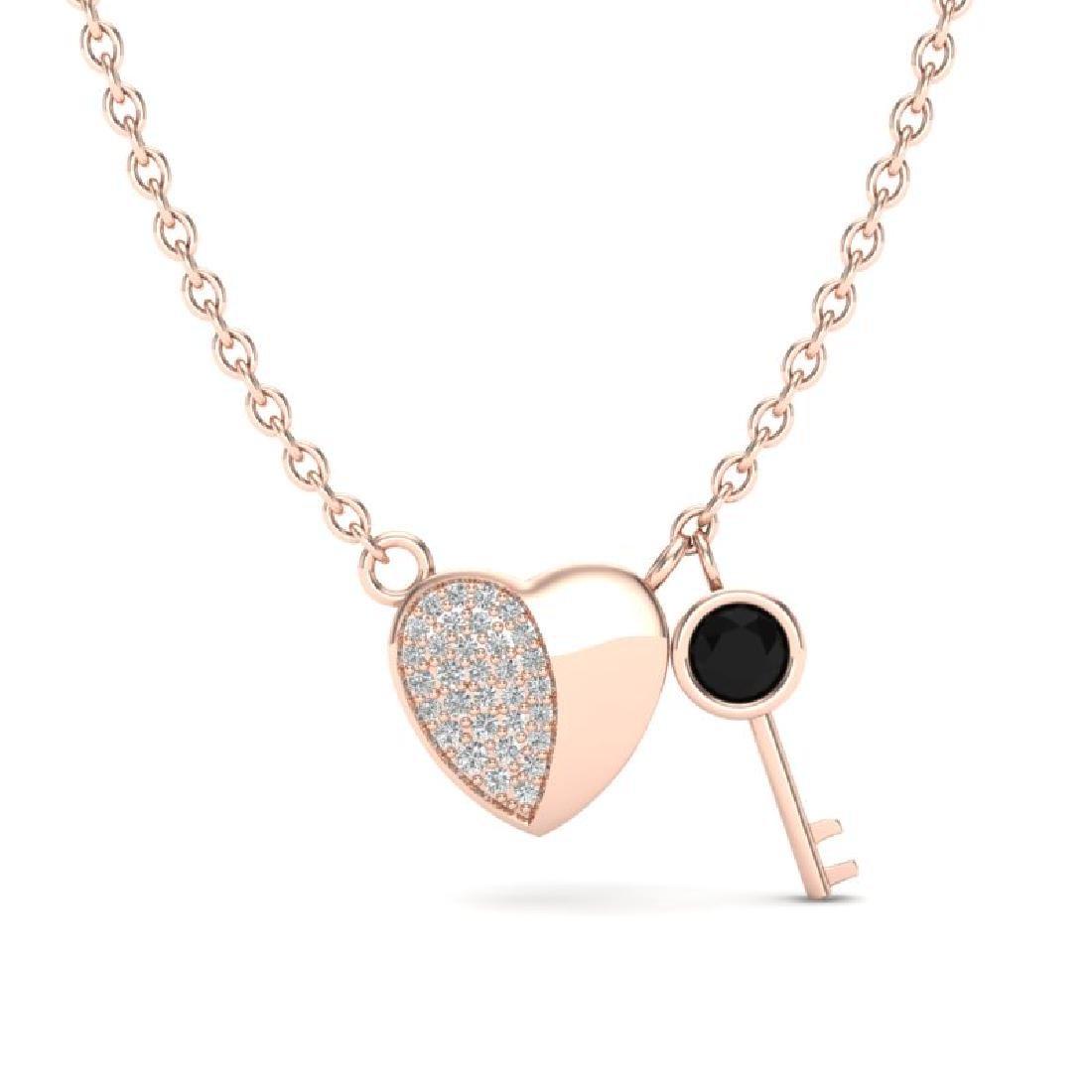 0.50 CTW Micro Black & VS/SI Diamond Key To The Heart - 2