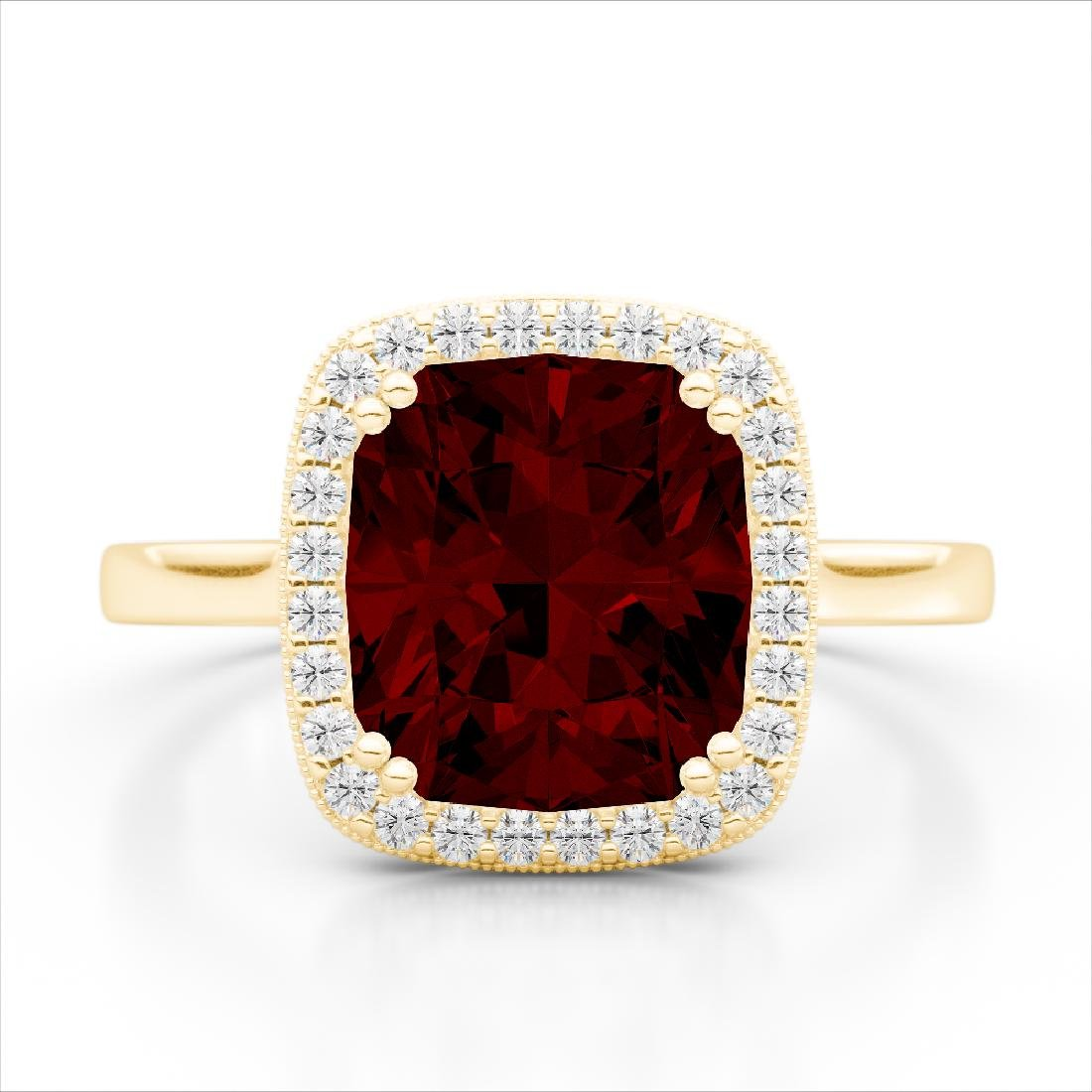 3 CTW Garnet & Micro Pave VS/SI Diamond Halo Ring 18K