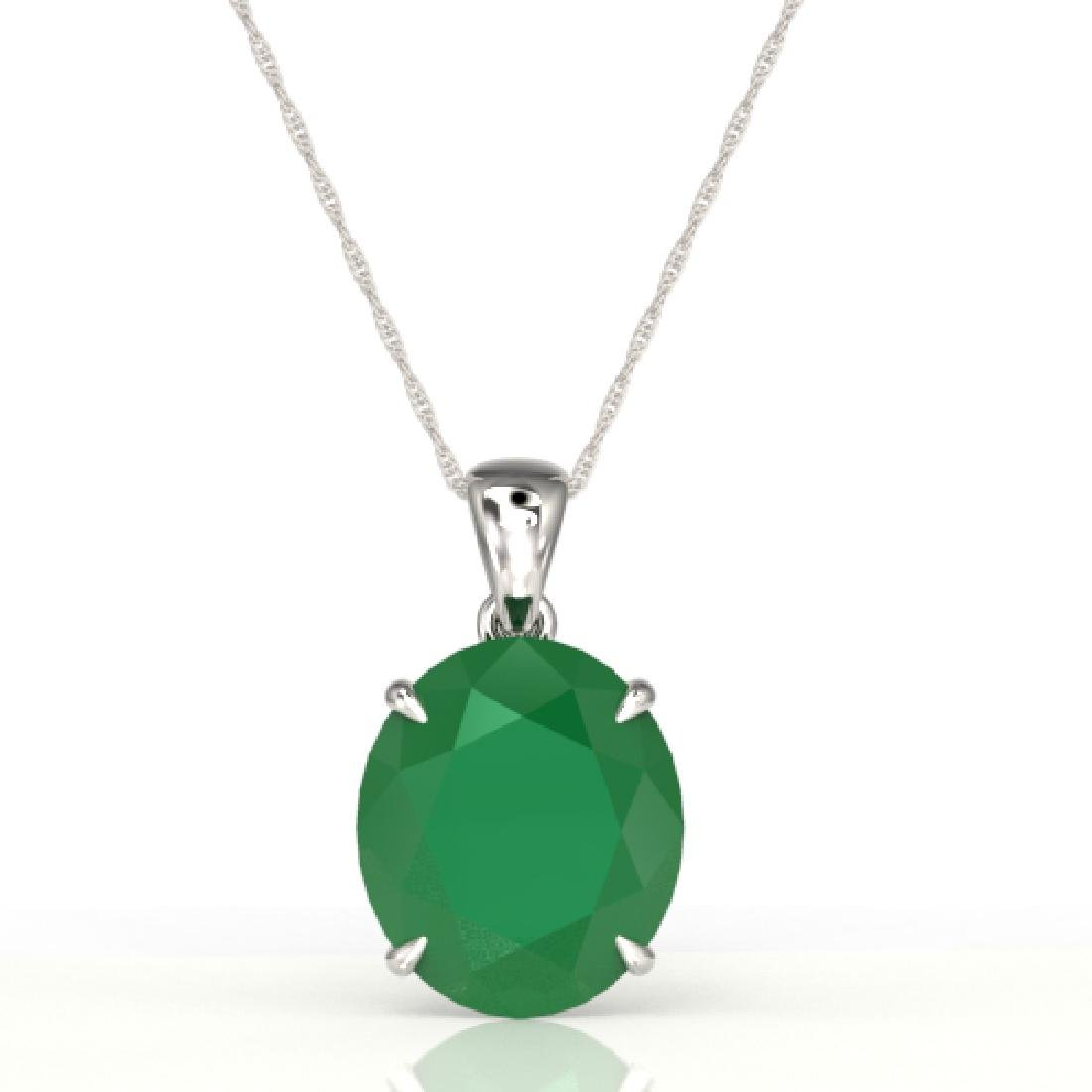 9 CTW Emerald Designer Solitaire Necklace 18K White - 2