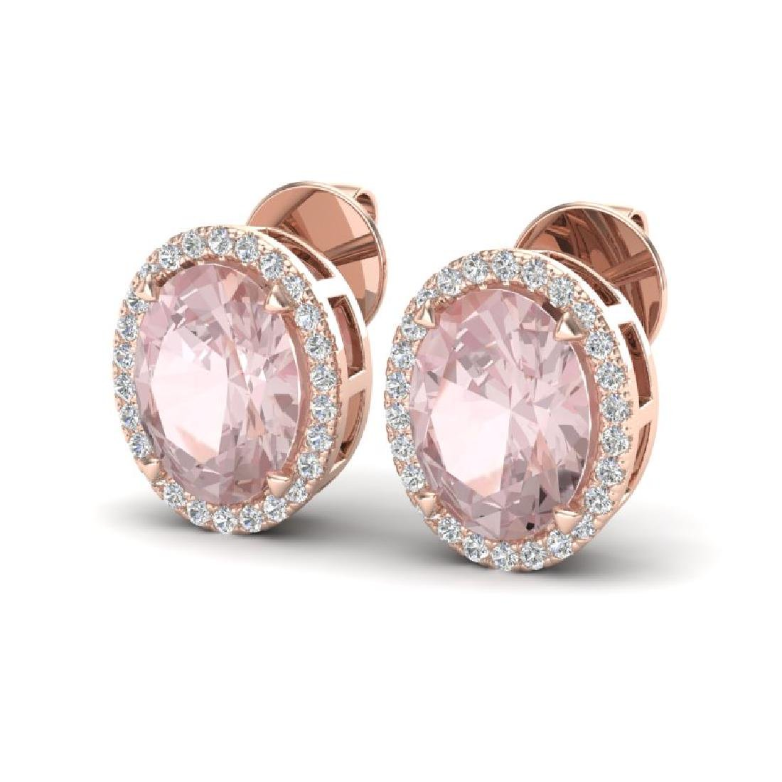 5.50 CTW Morganite & Micro VS/SI Diamond Halo Earrings
