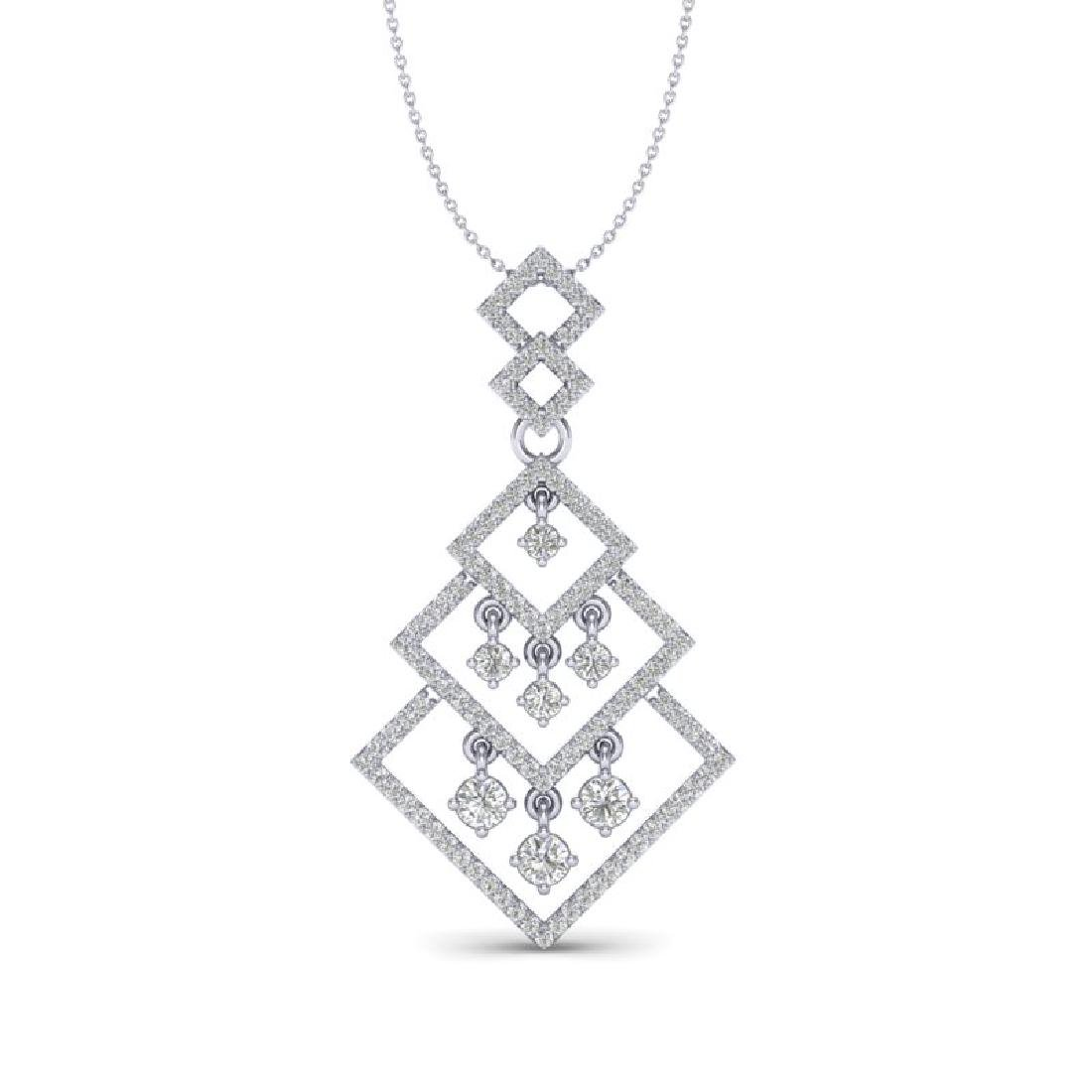 1.50 CTW Micro Pave VS/SI Diamond Necklace Dangling 14K - 2