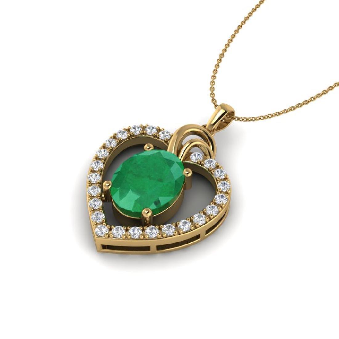 4 CTW Emerald & VS/SI Diamond Designer Inspired Heart - 2