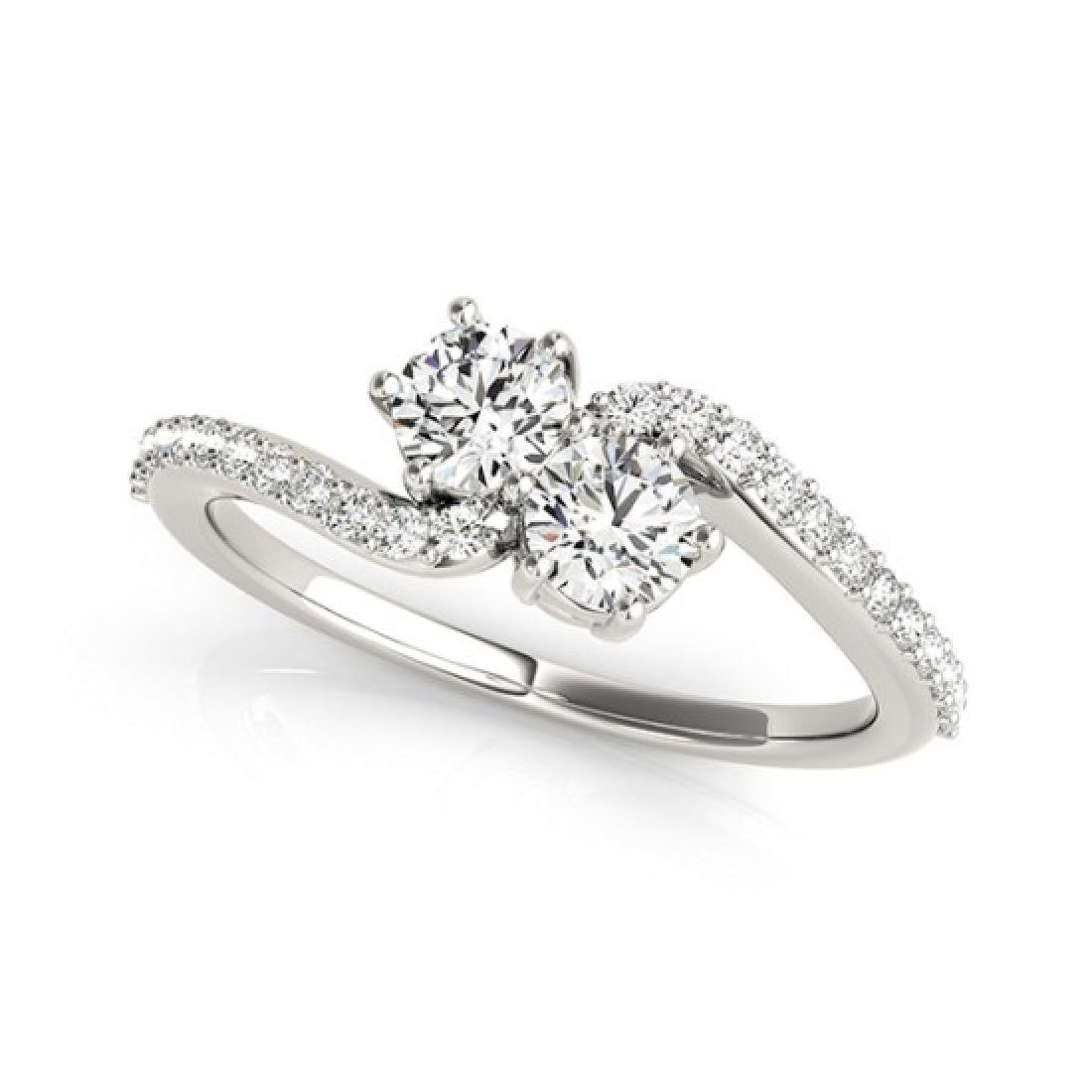 1 CTW Certified VS/SI Diamond 2 Stone Solitaire Ring - 2