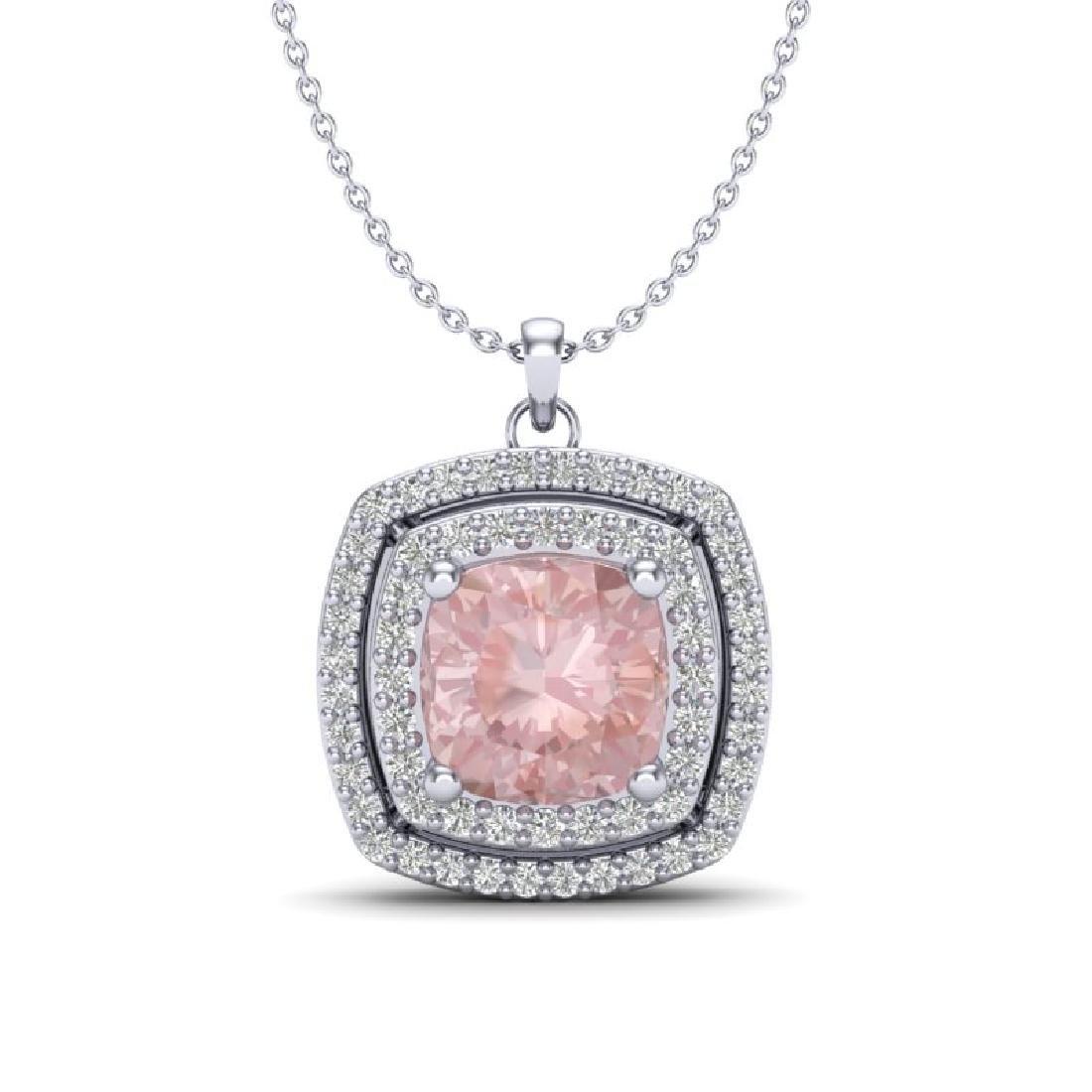 1.97 CTW Morganite & Micro VS/SI Diamond Halo Necklace