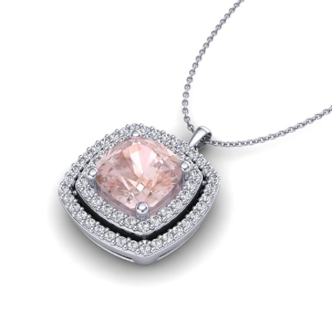 1.97 CTW Morganite & Micro VS/SI Diamond Halo Necklace - 2