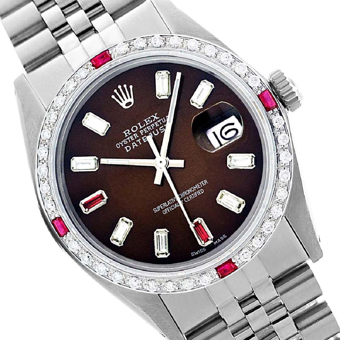 Rolex Men's Stainless Steel, QuickSet, Diam/Ruby Dial &