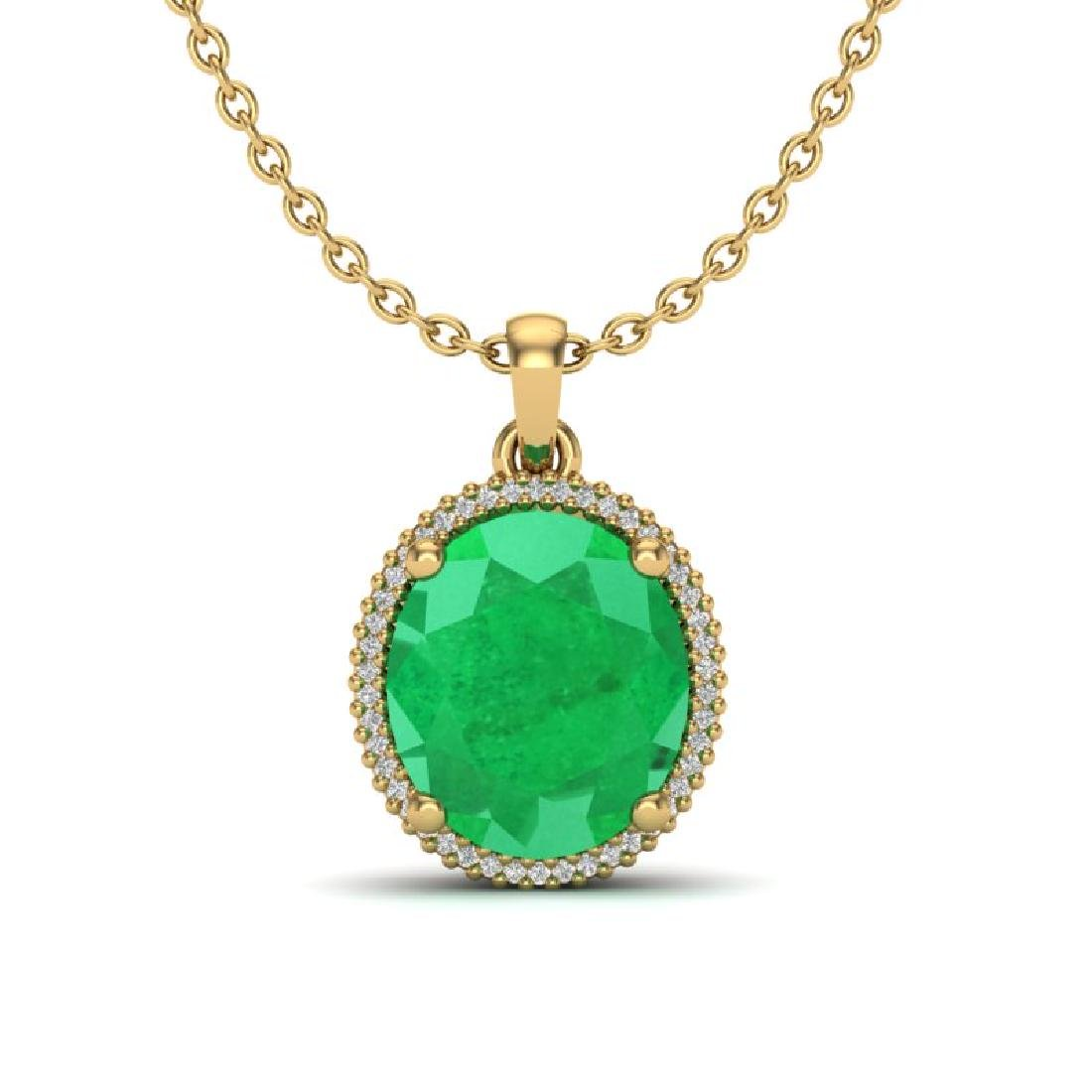 12 CTW Emerald & Micro Pave VS/SI Diamond Halo Necklace