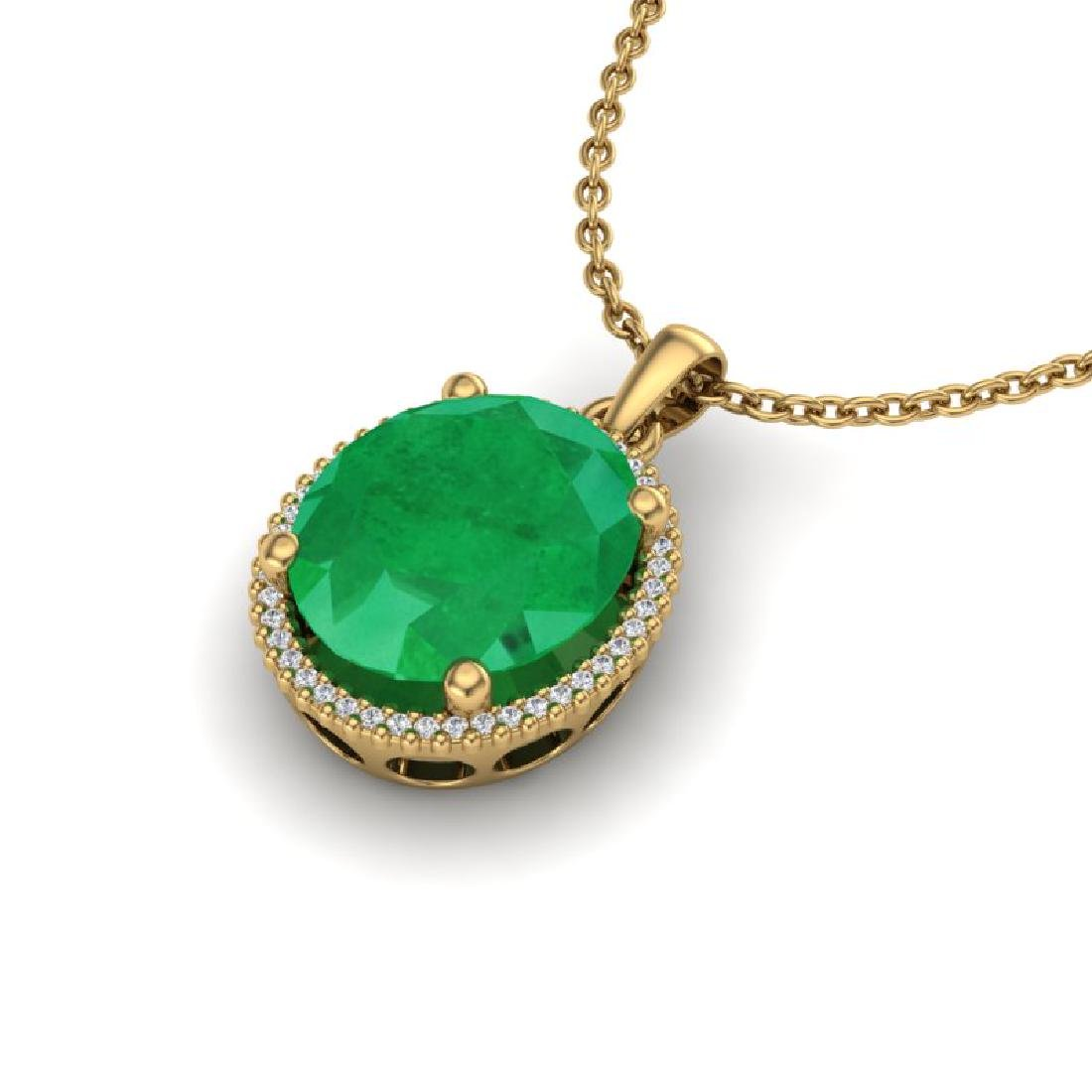 12 CTW Emerald & Micro Pave VS/SI Diamond Halo Necklace - 2