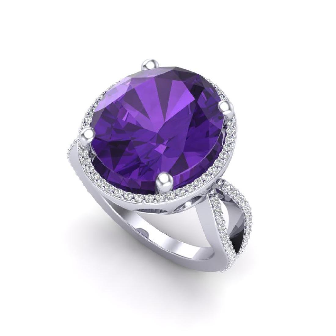 10 CTW Amethyst & Micro Pave VS/SI Diamond Halo Ring - 2