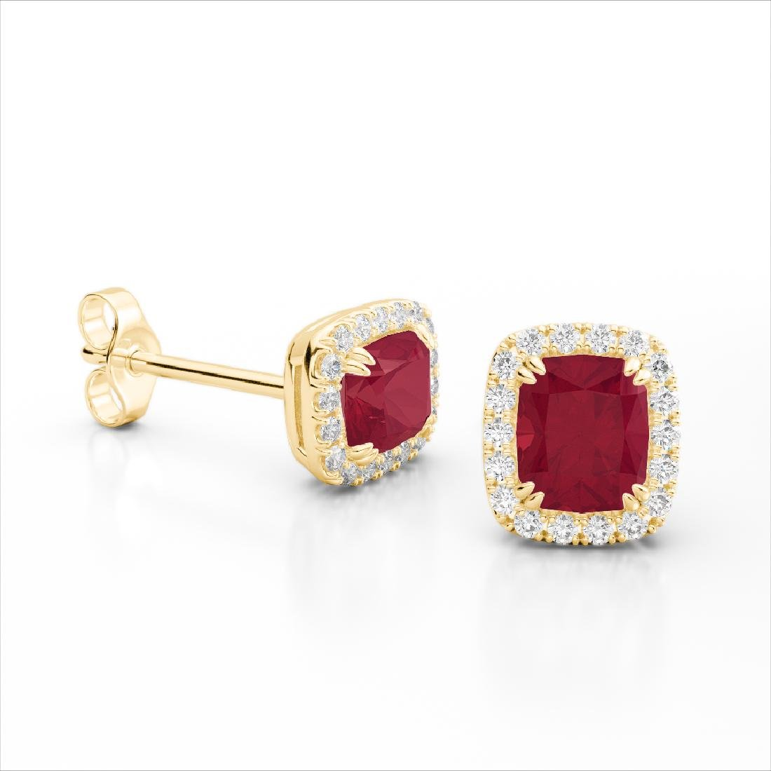 2.50 CTW Ruby & Micro Pave VS/SI Diamond Halo Earrings - 2