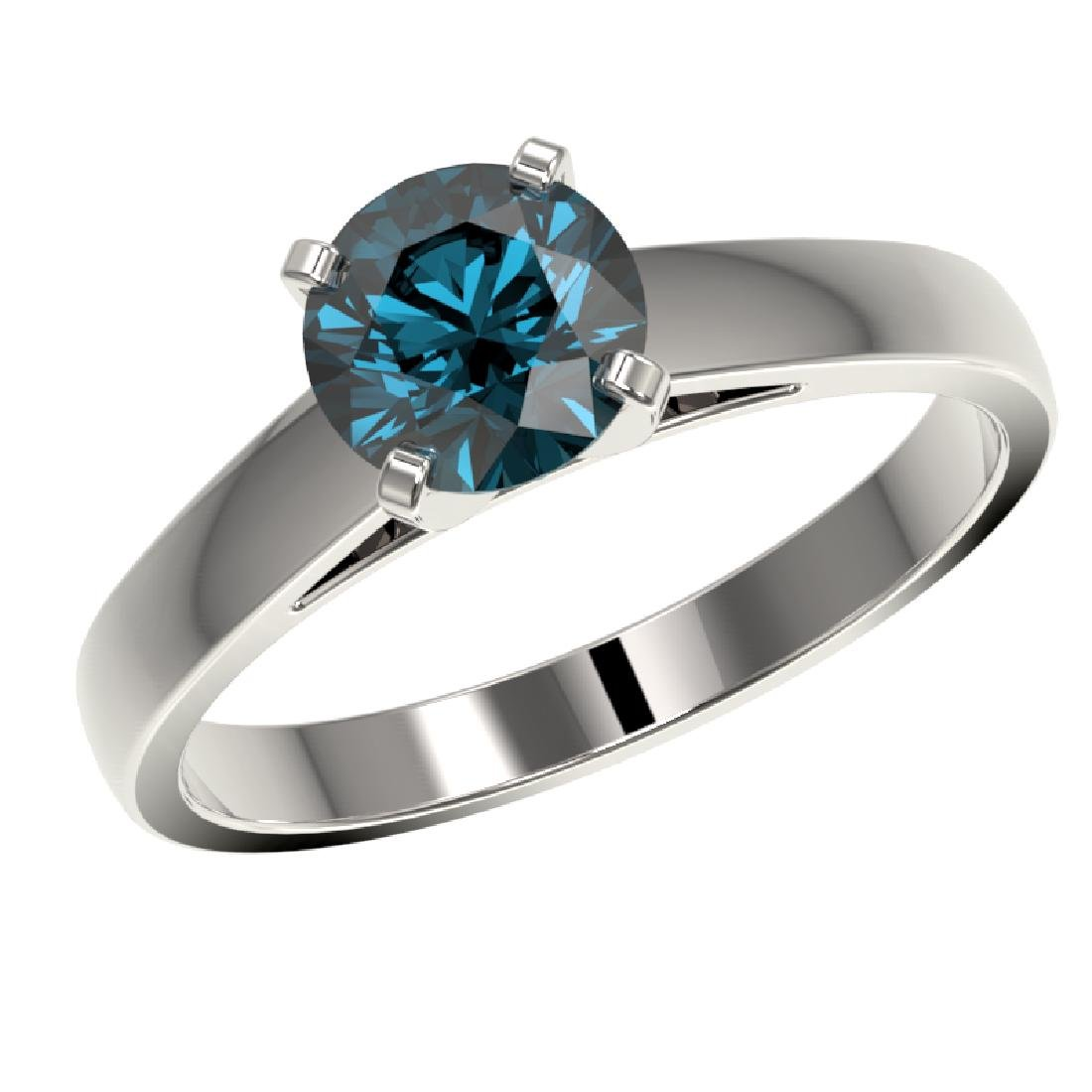 1.28 CTW Certified Intense Blue SI Diamond Solitaire - 2