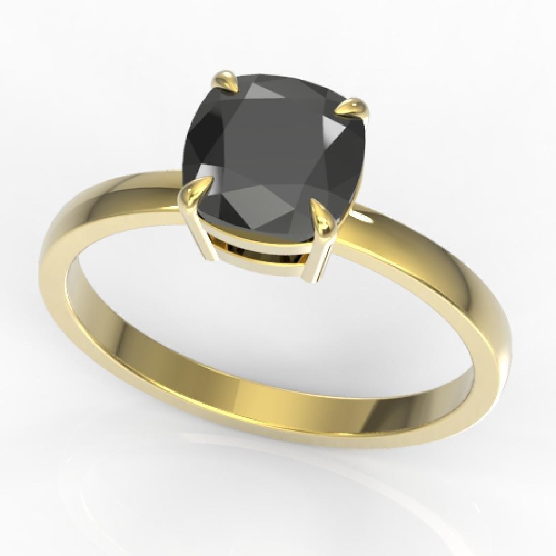3 CTW Cushion Cut Black VS/SI Diamond Designer - 2