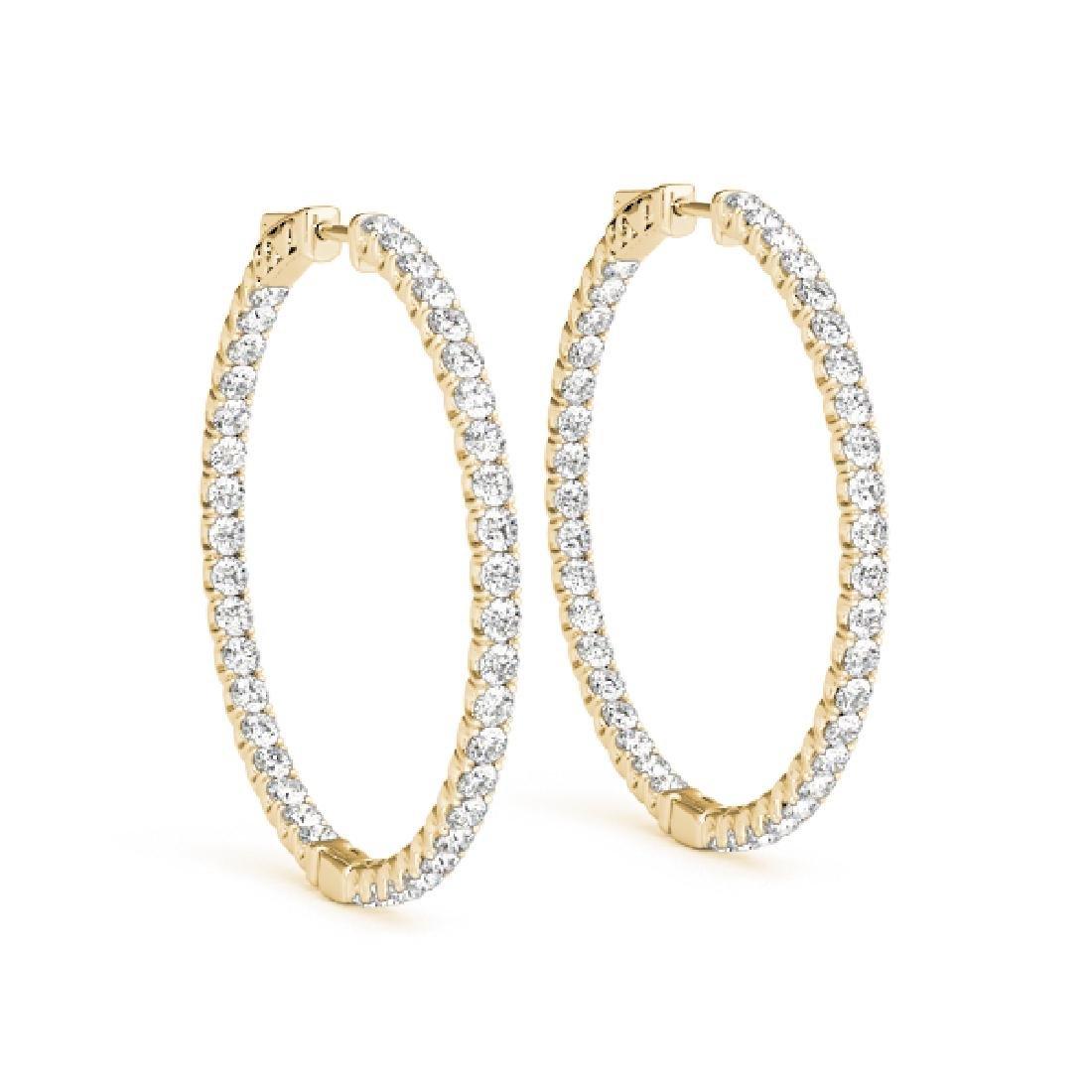 3.5 CTW Diamond VS/SI Certified 35 Mm Hoop Earrings 14K - 2