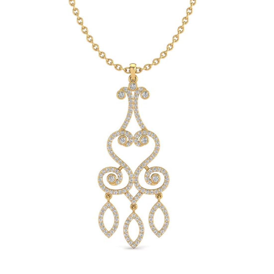 1.60 CTW VS/SI Diamond Micro Pave Designer Necklace 14K - 2