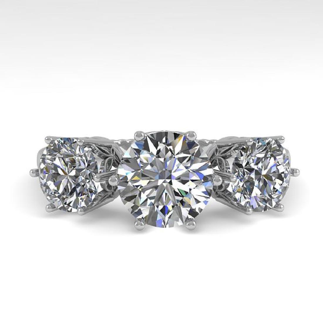2 CTW Certified VS/SI Diamond Art Deco Ring 14K White