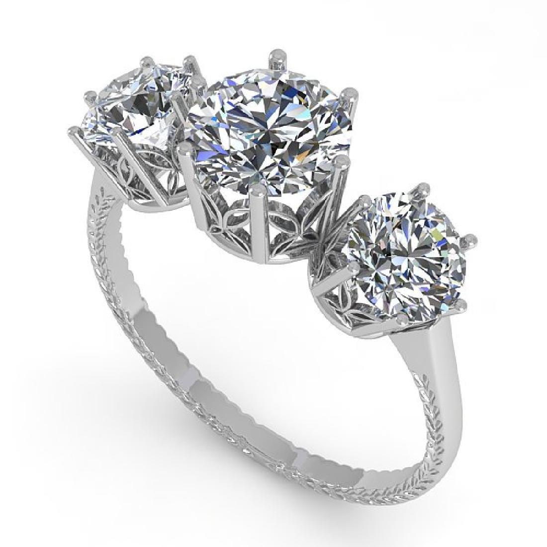 2 CTW Certified VS/SI Diamond Art Deco Ring 14K White - 2