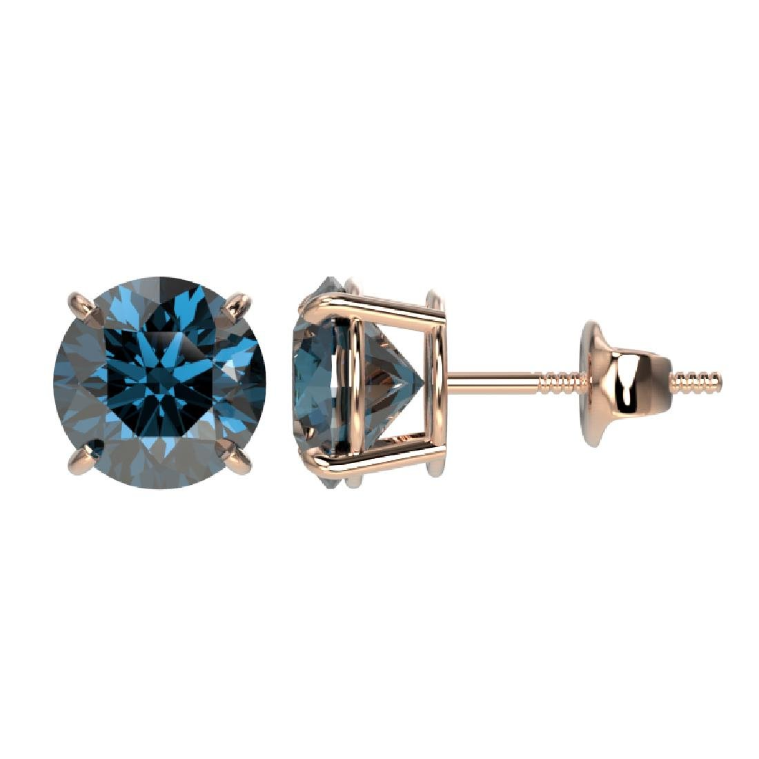 2 CTW Certified Intense Blue SI Diamond Solitaire Stud - 2