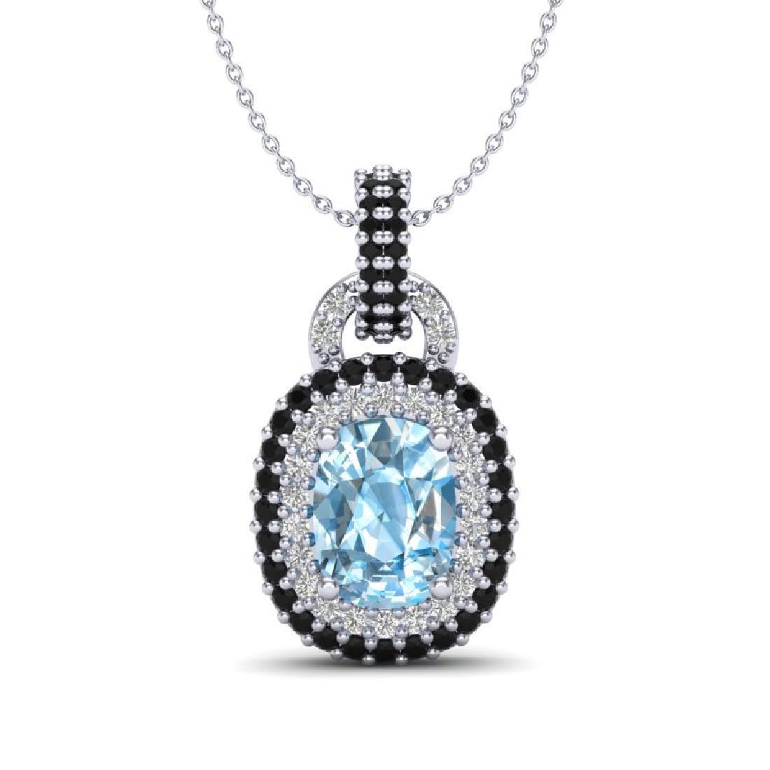 2.50 CTW Sky Blue Topaz & Black, Micro VS/SI Diamond