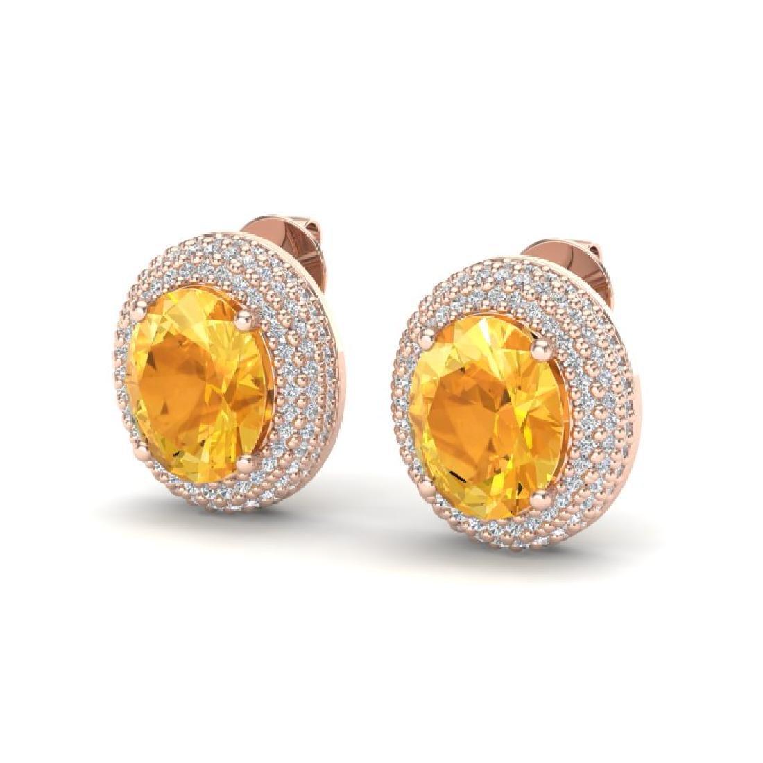 8 CTW Citrine & Micro Pave VS/SI Diamond Earrings 14K