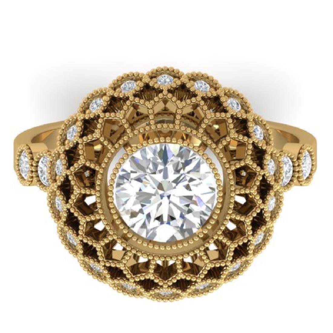 1.5 CTW Certified VS/SI Diamond Art Deco Ring 18K
