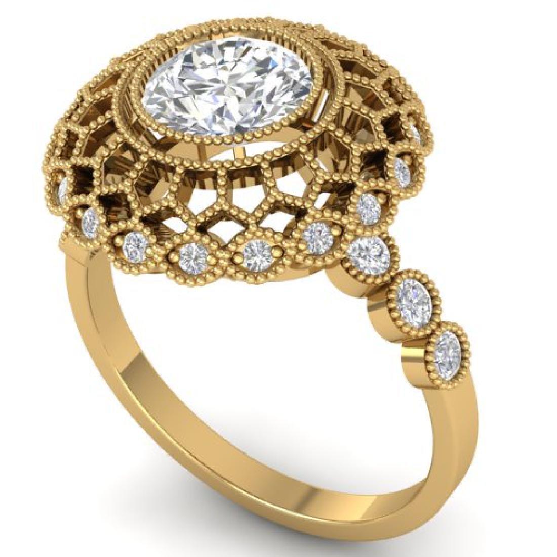 1.5 CTW Certified VS/SI Diamond Art Deco Ring 18K - 2