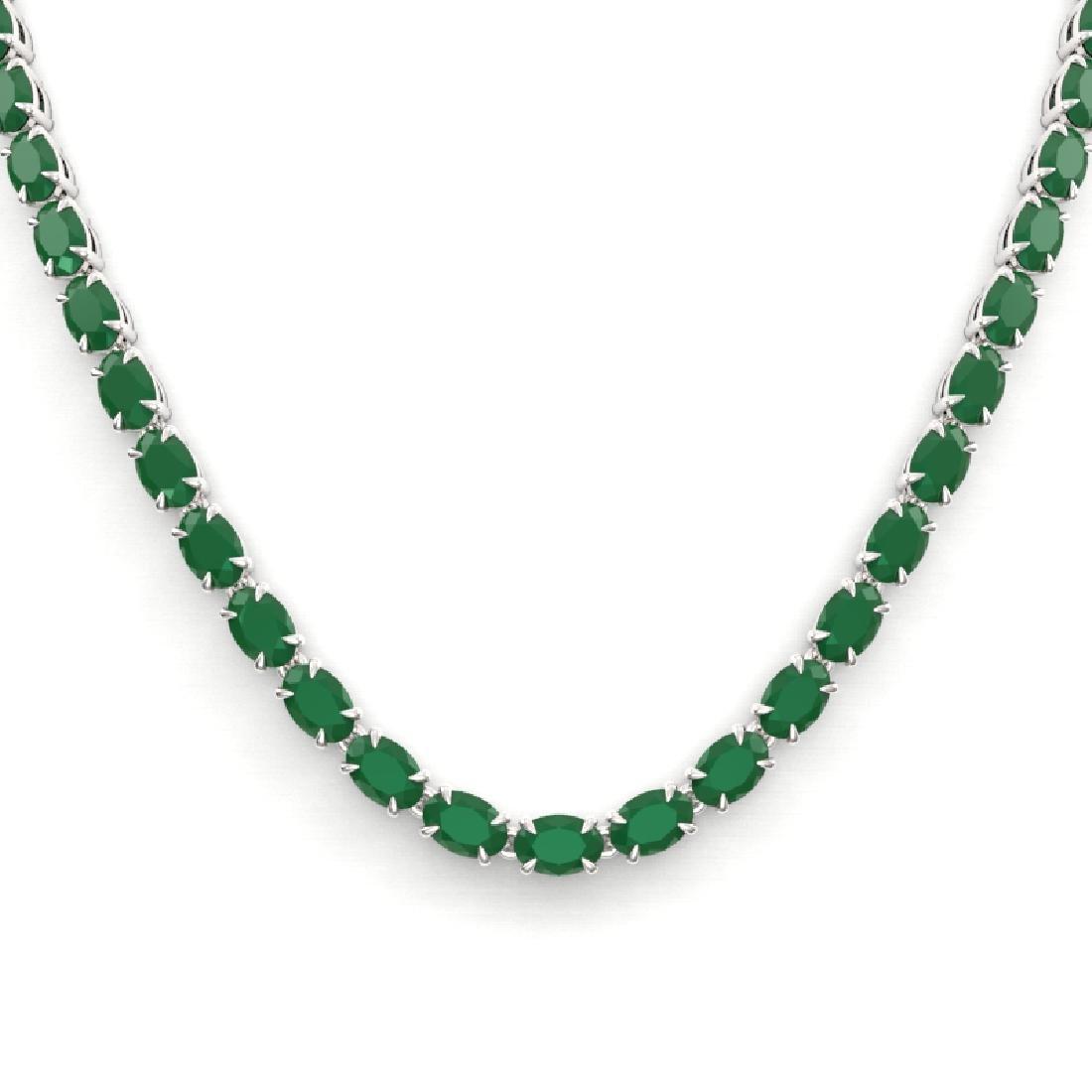 40 CTW Emerald Eternity Tennis Necklace 14K White Gold - 2