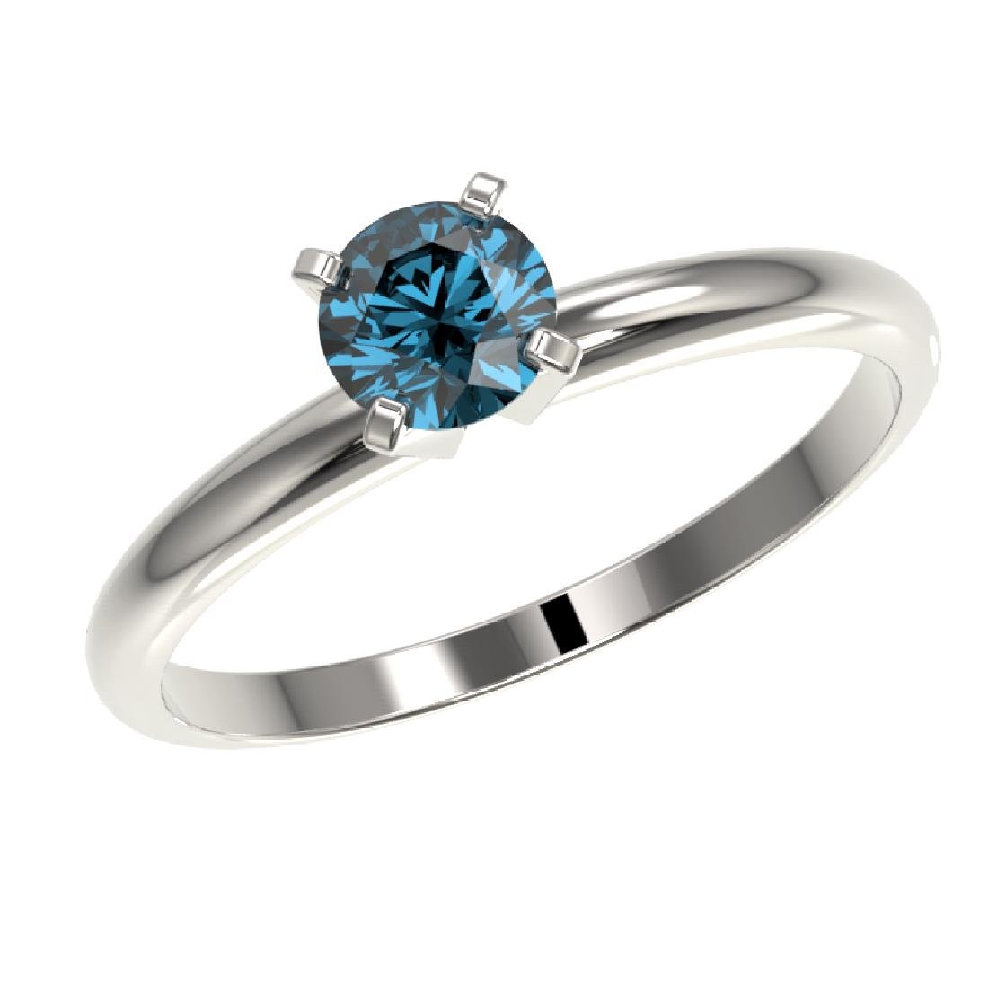0.50 CTW Certified Intense Blue SI Diamond Solitaire - 2