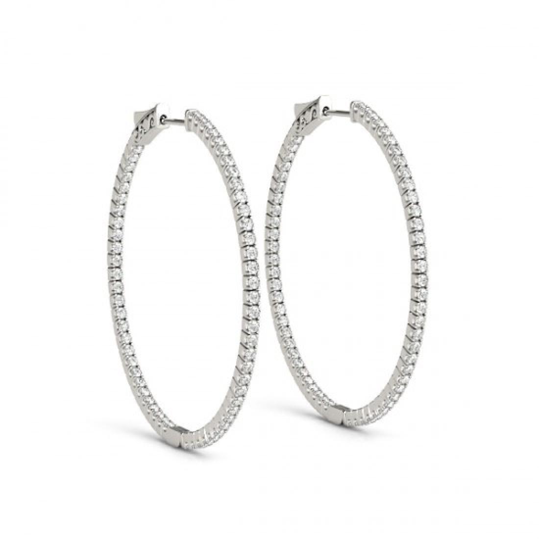 1 CTW Diamond VS/SI Certified 24 Mm Hoop Earrings 14K - 2