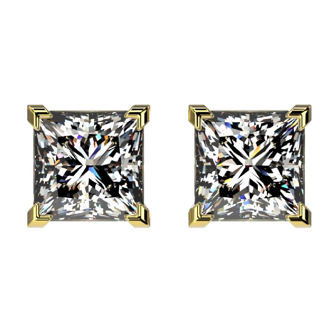 2 CTW Certified VS/SI Quality Princess Diamond Stud