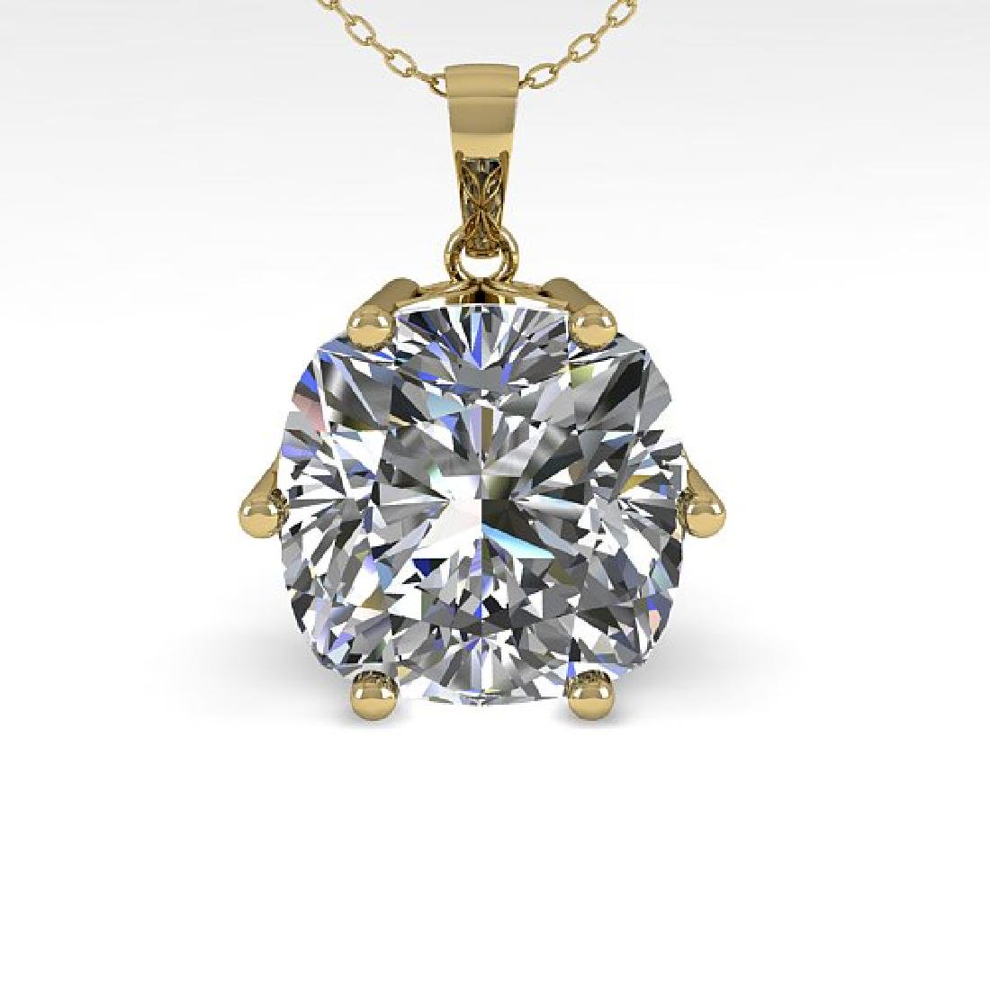 1 CTW VS/SI Cushion Cut Diamond Art Deco Necklace 14K - 2